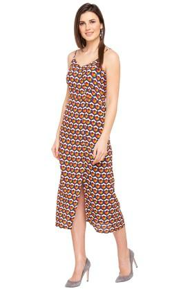 Womens Spaghetti Neck Printed Calf Length Dress