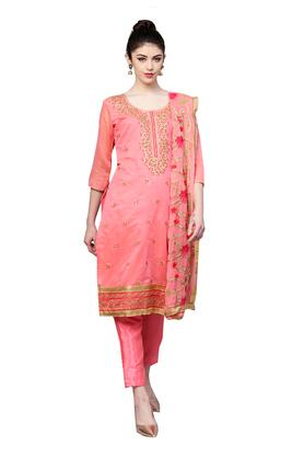 Womens Embroidered Unstitched Salwar Suit Dress Material with Dupatta
