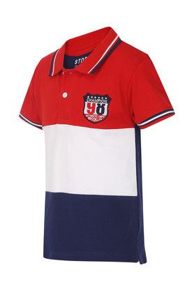 Boys Colour Block Polo Tee
