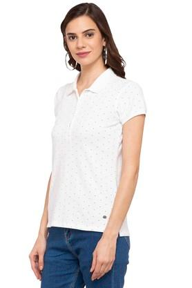 Womens Polo Neck Dot Pattern Tee