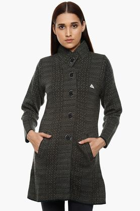 MONTE CARLO Womens High Neck Knitted Pattern Cardigan