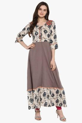 JUNIPER Womens Rama Embroidered Long Kurta With Piping Detailing