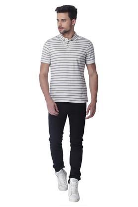 Mens Slim Fit Stripe Polo T-Shirt