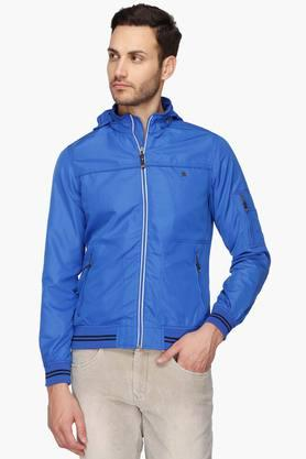 LOUIS PHILIPPE SPORTSMens Hooded Neck Solid Jacket