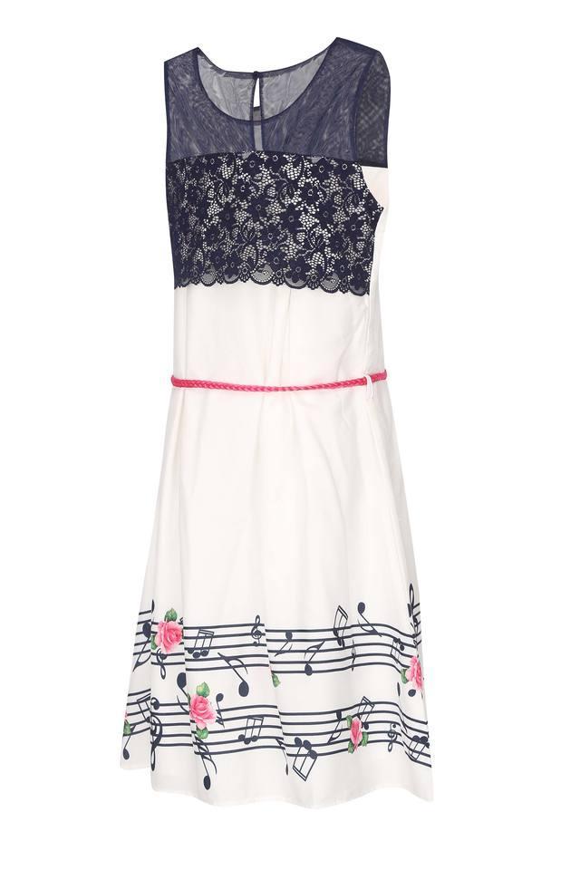 Girls Round Neck Lace A-line Dress