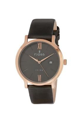 Mens Grey Dial Synthetic leather Analogue Watch - FJ-3038-03
