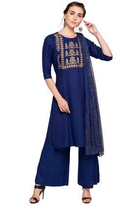 KASHISH Womens Round Neck Embroidered Kurta Palazzo Set