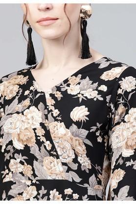 Womens Surplice Neck Floral Print A-Line Dress