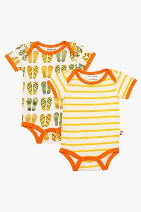 Unisex Envelope Neck Printed and Stripe Bodysuit Pack of 2