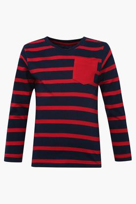 Boys Round Neck Printed Solid and Stripe Tee Set of 3