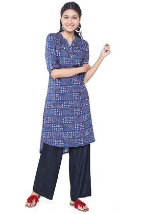 GLOBAL DESI Womens Mandarin Neck Printed Tunic - 203680903