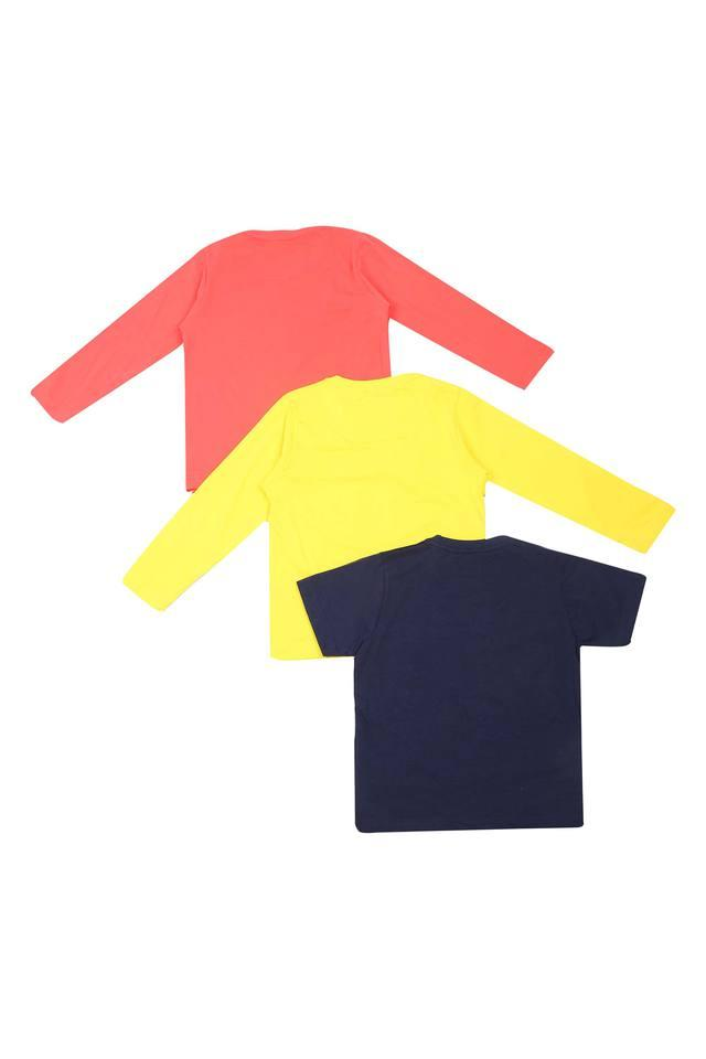 Boys Round Neck Graphic Print and Solid Tee - Pack Of 3