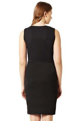 Womens Surplice Neck Solid Bodycon Dress