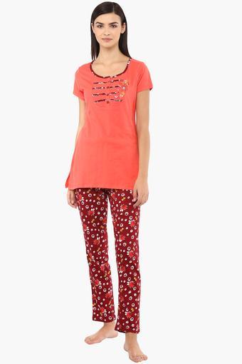 Womens Round Neck Printed Top and Pyjamas Set