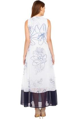 Womens Key Hole Neck Printed Maxi Dress