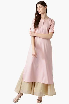 Womens Polyester Self Printed A-Line Kurta