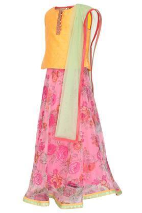 Girls Round Neck Embellished Ghaghra Choli and Dupatta Set