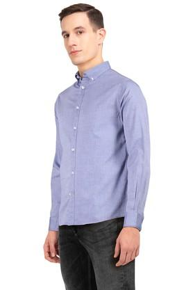 Mens Slim Fit Button Down Collar Slub Shirt