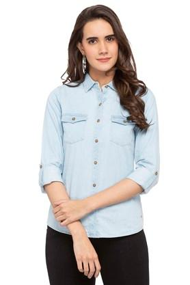 Womens Collared Rinse Wash Shirt