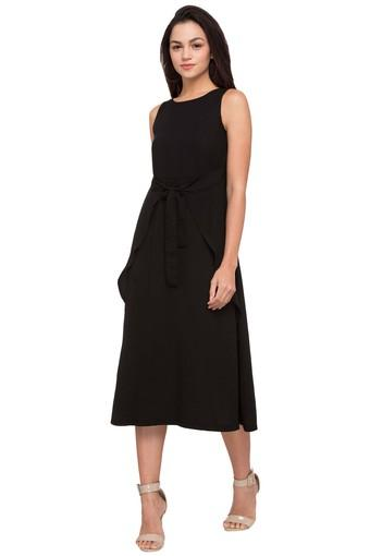 64411cd6cb Buy 109F Womens Round Neck Solid Knee Length Dress