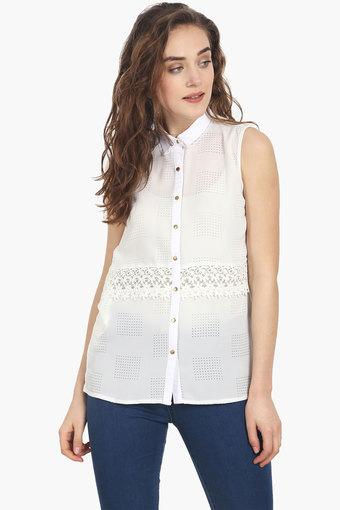 Womens Collared Self-pattern Shirt