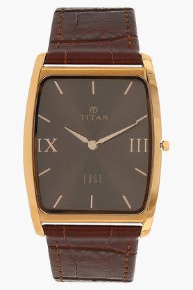 TITANMens Brown Dial Leather Watch - NH1596WL03