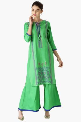 LIBAS Womens Cotton Solid Kurta With Jacket And Printed Palazzo