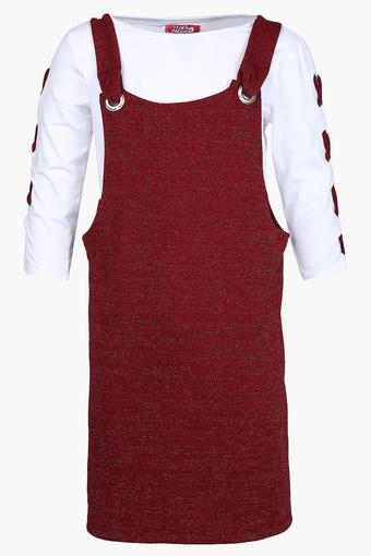 Girls Round Neck Printed Dungaree and Top Set