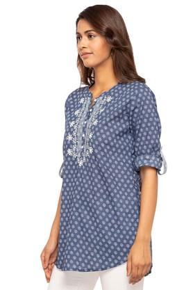 Womens Mandarin Neck Printed Kurti
