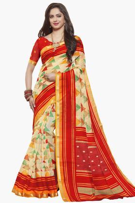 ISHINWomens Art Silk Printed Saree