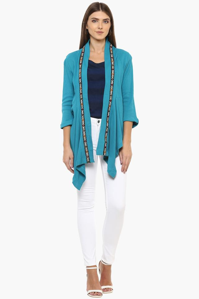 Womens Open Front Neck Solid Shrug