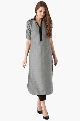 LIBAS Womens Cotton Checks Pathani Kurta