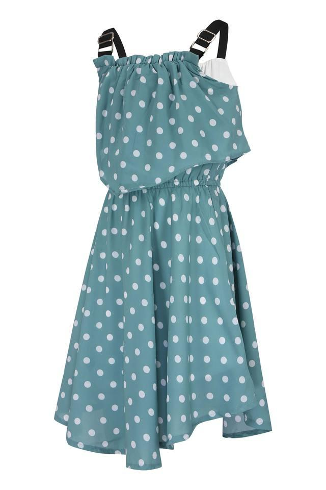 Girls Square Neck Polka Dots A-Line Dress