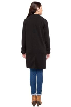 Womens Notched Lapel Solid Trench Coat