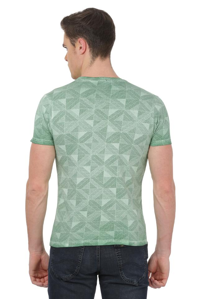 Mens Round Neck Checked T-Shirt