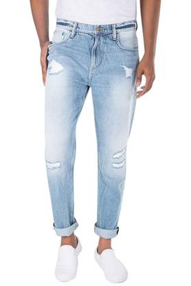 LEE Mens Distressed Mid Rise Jeans