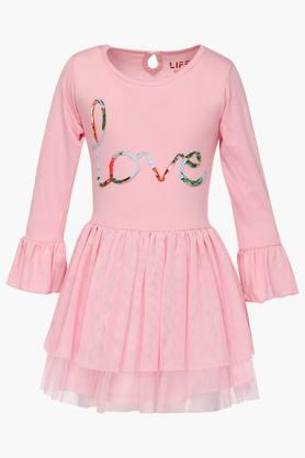 Girls Round Neck Solid Layered Dress