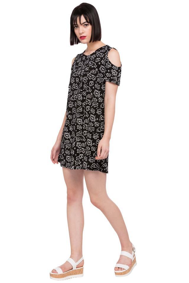 Womens Round Neck Printed Short Dress