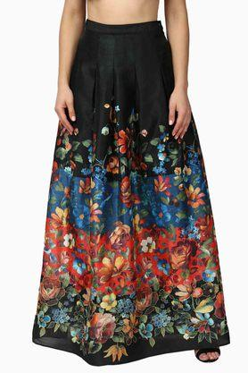 LABEL RITU KUMAR Womens Printed Box Pleats Long Skirt