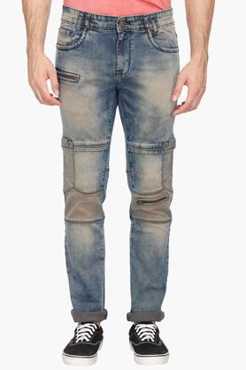 LIFE Mens 7 Pocket Acid Washed Jeans
