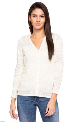 APSLEY Womens V-Neck Perforated Cardigan