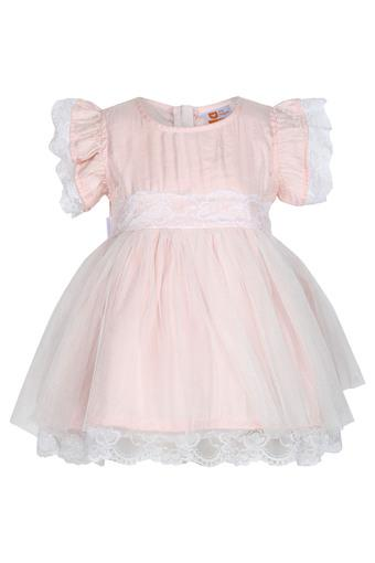 Girls Round Neck Lace Flared Dress