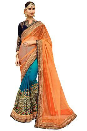 VRITIKA Womens Silk Soft Net Heavy-Embroidered Saree