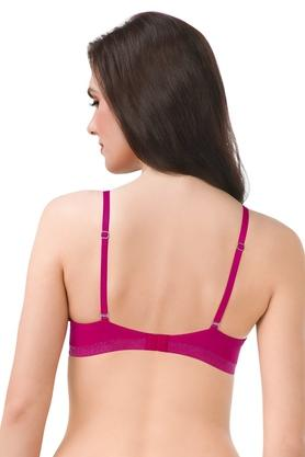 Womens Solid Padded Wired Shimmer Push Up Bra