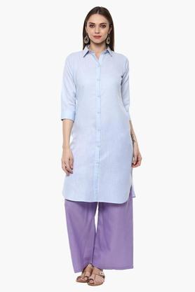 LIBASWomens Collared Solid Shirt Style Kurta