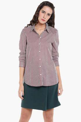 Womens Collared Striped Shirt