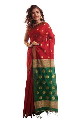 HAST VASTRA Womens Zari Border Saree With Blouse