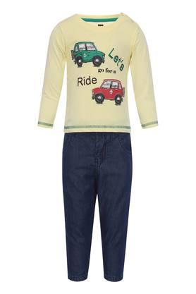 Boys Round Neck Printed Tee and Pants Set