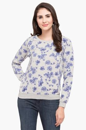 ALLEN SOLLY Womens Round Neck Printed Sweatshirt