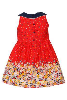 Girls Round Neck Floral Flared Dress